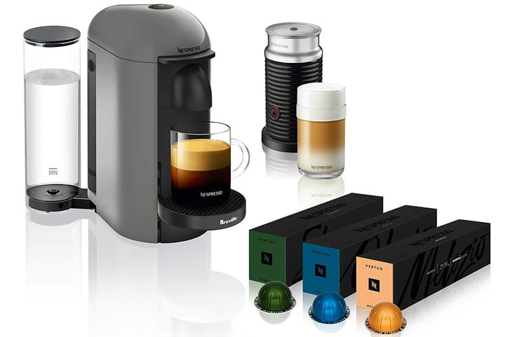amazon deal of day nespresso coffee and espresso machines with frother vertuoplus machine aeroccino milk by breville grey  ve