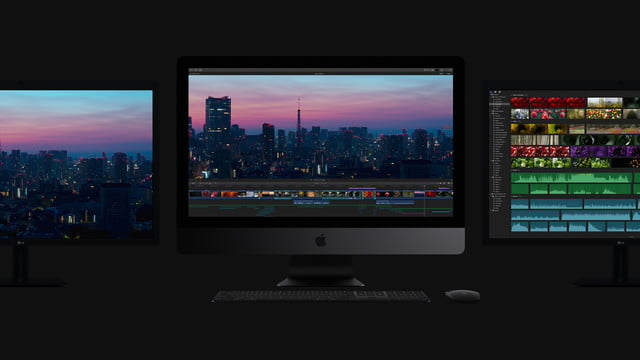 apple introduces imac pro and refreshed lineup new 2017 three monitors dark grey
