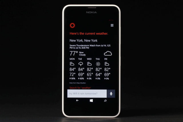 Nokia Lumia 635 front weather