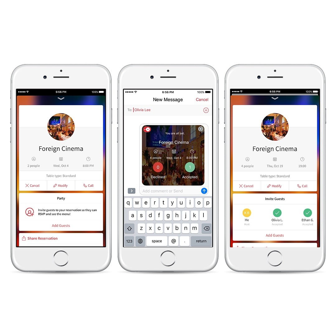 Opentable s app now lets you send reservations through for 0pen table