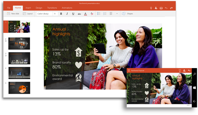 office 2016 and for windows 10 coming later this year powerpoint ui 900x525