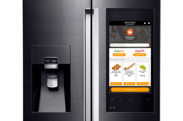 samsung family hub is a smart fridge with big touchscreen 4 door flex refrigerator and groceries by mastercard