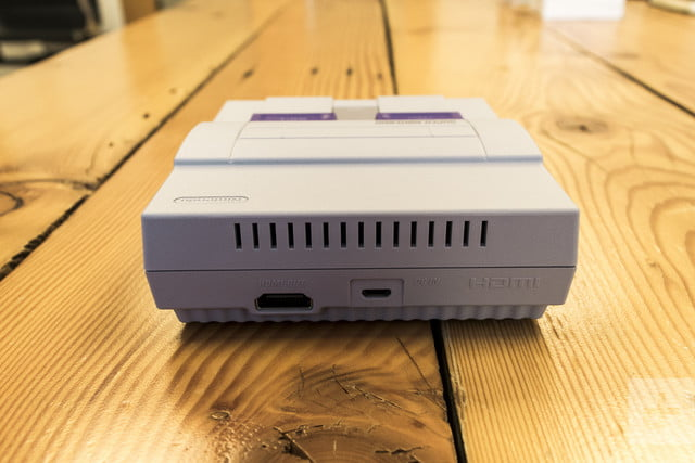 Backside of the SNES Classic Edition at a slight downward angle