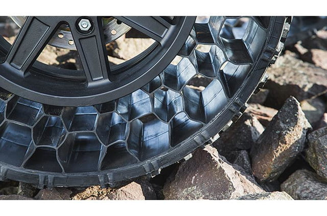 polaris new airless tire can withstand a 50 caliber bullet terrainarmor tires 1