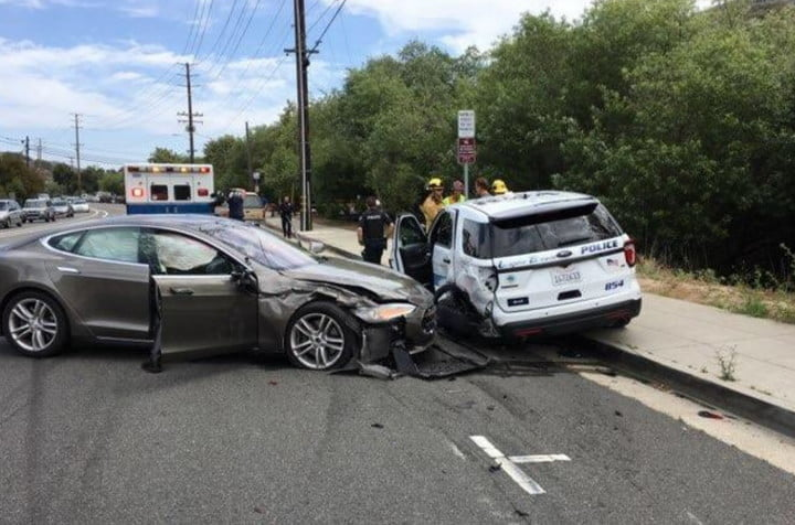 Tesla crash Laguna Beach