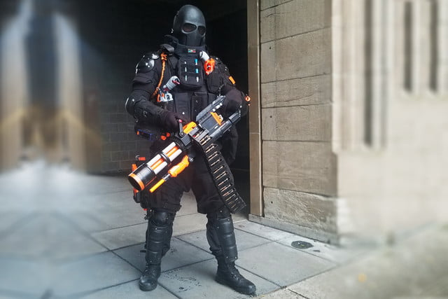But not one to settle for the ordinary, Captain Xavier cranked things up a  bit, hacking his NERF Rival into a spinning minigun fed by a 2,000-shot  backpack.