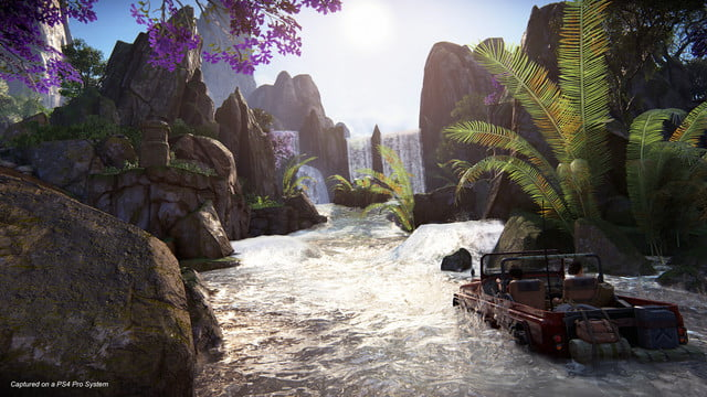 Uncharted: The Lost Legacy Nadine and Chloe driving a humvee through a river