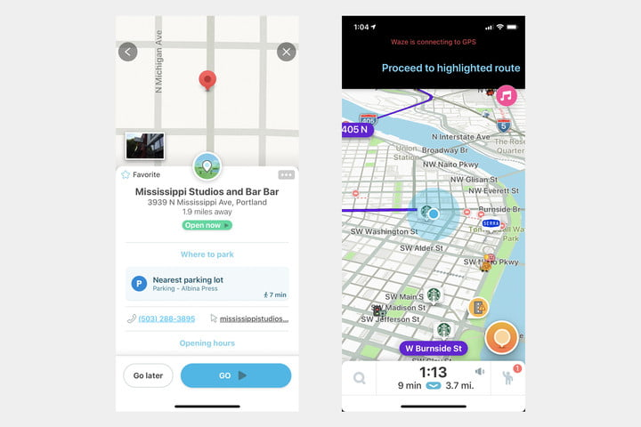 waze vs google maps new screens