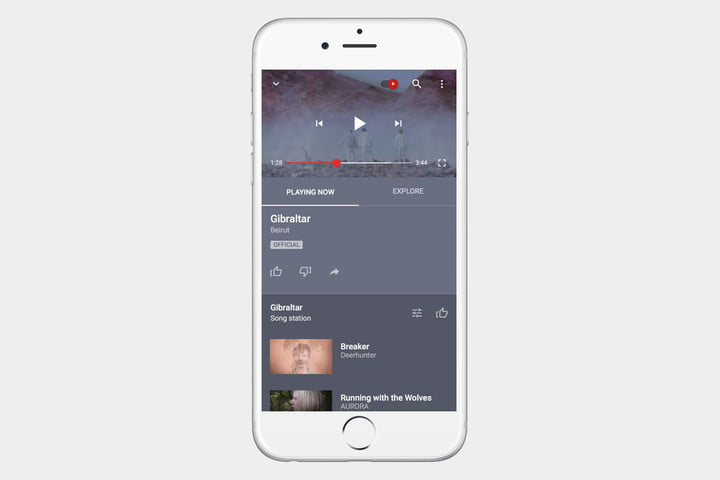 YouTube Music App Screen